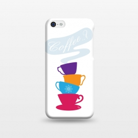 iPhone 5C  Bright Coffee Cups by Martina (bright,colorful,modern,stylish,elegant,cups,coffee,typography,for her,coffee lover,coffee love,graphic)