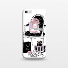 iPhone 5C  Stylish chair by Martina (fashion,elegant,stylish,modern,vintage,retro,chair,illustration,shoes,shopping,flowers,perfume,books,home,interior,black,stripes,dots,gift,feminine,girly,for her,for mum)