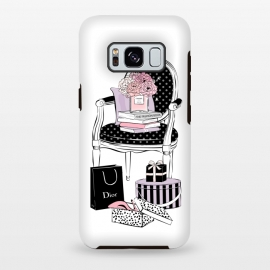 Galaxy S8+  Stylish chair by Martina (fashion,elegant,stylish,modern,vintage,retro,chair,illustration,shoes,shopping,flowers,perfume,books,home,interior,black,stripes,dots,gift,feminine,girly,for her,for mum)