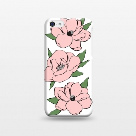 iPhone 5C  Big Pink Flowers by Martina (nature,flowers,floral,feminine,girly,for her,illustration,pink,modern,elegant,stylish)