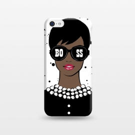 iPhone 5C  Lady Boss Dark Skin by Martina (woman,lady,girl,boss,lady boss,girl boss,boss girl,dark skin,illustration,modern,elegant,stylish,for her,sunglasses,girl power,girly,feminine,typography,words)