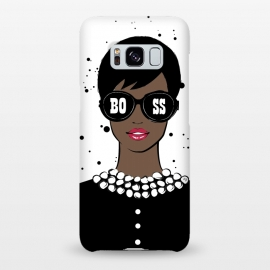 Galaxy S8+  Lady Boss Dark Skin by Martina (woman,lady,girl,boss,lady boss,girl boss,boss girl,dark skin,illustration,modern,elegant,stylish,for her,sunglasses,girl power,girly,feminine,typography,words)