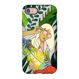 iPhone 8/7  Spring Break by Uma Prabhakar Gokhale (graphic design, watercolor, tropical, nature, leaves, travel, woman, girl, sunglasses, sunny, in the sun, vacation, line art, blonde, fashion, beauty)