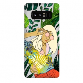 Galaxy Note 8  Spring Break by Uma Prabhakar Gokhale (graphic design, watercolor, tropical, nature, leaves, travel, woman, girl, sunglasses, sunny, in the sun, vacation, line art, blonde, fashion, beauty)