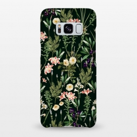 Galaxy S8+  Dark Botanical Garden by Uma Prabhakar Gokhale (graphic design, pattern, floral, nature, vintage, jungle, tropical, forest, retro, floralflora, botanical, flowers, pop art, garden, dark, black, night)