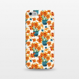 iPhone 5/5E/5s  Lily Blossom by Uma Prabhakar Gokhale (graphic design, watercolor, pattern, lilies, lily, floral, flower pot, nature, blossom, bloom, botanical, orange, coral, warm, red, teal, blue)