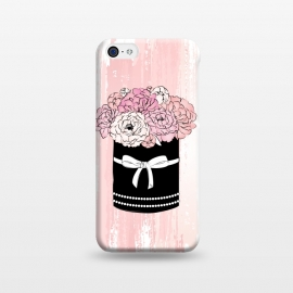 iPhone 5C  Flower Box with pink Peonies by Martina (flowers,floral,nature,peonies,peony,box,flower box,modern,elegant,chic,illustration,pink,black,watercolor,for her,for mother,for mum,love,pretty,beauty,ribbon,transparent)