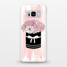 Galaxy S8+  Flower Box with pink Peonies by Martina (flowers,floral,nature,peonies,peony,box,flower box,modern,elegant,chic,illustration,pink,black,watercolor,for her,for mother,for mum,love,pretty,beauty,ribbon,transparent)