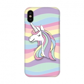 iPhone X  Cute Rainbow Unicorn by Martina (cute,sweet,modern,colorful,stylish,childish,for kid,for girl,girly,for daughter,unicorn,animal,rainbow,pastel,geometric,happy,positive)
