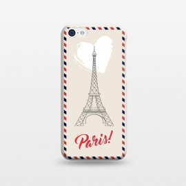 iPhone 5C  Vintage envelope Eiffel Tower in Paris by Martina (paris,france,eiffel tower,vintage,old,stylish,graphic,illustration,envelope,greeting,love,heart,elegant,modern,typography,landscape,monument)