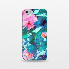 iPhone 5/5E/5s  Blossomed Garden by Uma Prabhakar Gokhale (acrylic, floral, nature, blossom, flowers, bloom, pink, green, blue, abstract, garden, foliage, botanical, leaves, modern art)
