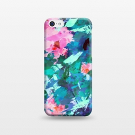iPhone 5C  Blossomed Garden by Uma Prabhakar Gokhale (acrylic, floral, nature, blossom, flowers, bloom, pink, green, blue, abstract, garden, foliage, botanical, leaves, modern art)