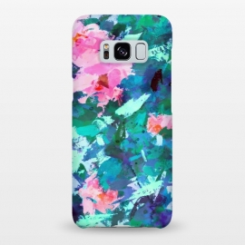 Galaxy S8+  Blossomed Garden by Uma Prabhakar Gokhale (acrylic, floral, nature, blossom, flowers, bloom, pink, green, blue, abstract, garden, foliage, botanical, leaves, modern art)
