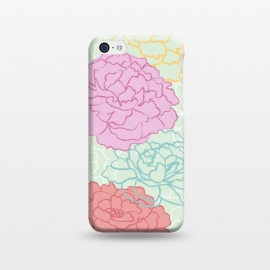 iPhone 5C  Pretty pastel peonies by Martina (pretty,pastel,colorful,feminine,girly,modern,graphic,illustration,floral,flowers,peony,peonies,for her,for mother,for mum,stylish,elegant)