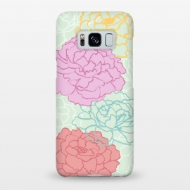 Galaxy S8+  Pretty pastel peonies by Martina (pretty,pastel,colorful,feminine,girly,modern,graphic,illustration,floral,flowers,peony,peonies,for her,for mother,for mum,stylish,elegant)