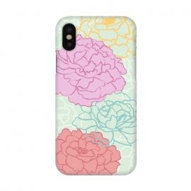 iPhone X  Pretty pastel peonies by Martina (pretty,pastel,colorful,feminine,girly,modern,graphic,illustration,floral,flowers,peony,peonies,for her,for mother,for mum,stylish,elegant)