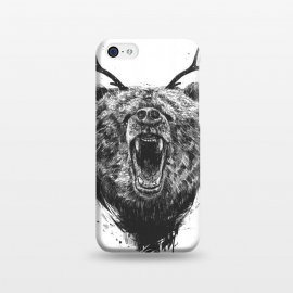 iPhone 5C  Angry bear with antlers by Balazs Solti (bear,animal,drawing,ink,grunge,antlers,surreal)