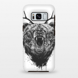 Galaxy S8 plus  Angry bear with antlers by  (bear,animal,drawing,ink,grunge,antlers,surreal)