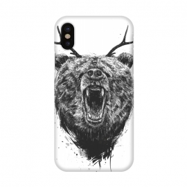 iPhone X  Angry bear with antlers by Balazs Solti