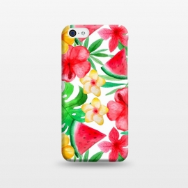 iPhone 5C  Aloha Tropical Hibiscus and Melon Pattern by Utart