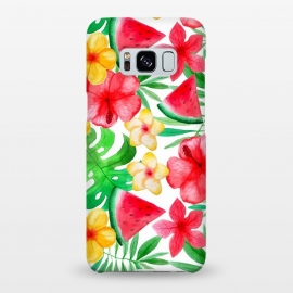Galaxy S8+  Aloha Tropical Hibiscus and Melon Pattern by Utart