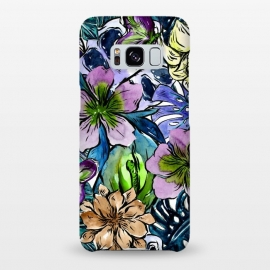 Galaxy S8+  Purple Aloha Hibiscus Tropical Flower Pattern by Utart