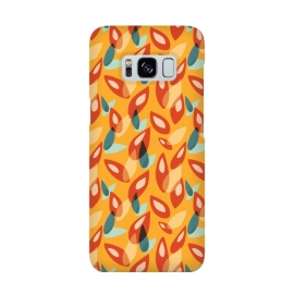 Orange Blue Yellow Abstract Autumn Leaves Pattern by Boriana Giormova