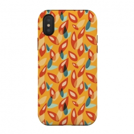iPhone Xs / X  Orange Blue Yellow Abstract Autumn Leaves Pattern by Boriana Giormova