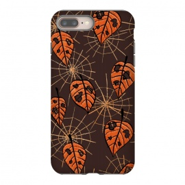 Orange Leaves With Holes And Spiderwebs by Boriana Giormova (cobweb, web, halloween, spiderweb, net, torn, autumn, autumnal, seasonal, fall pattern, fall season, fall leaves, autumn leaves, pattern, orange, plant, leaf, floral, illustration, decorative, color, foliage, flora, botanical, nature, nature lover, leaves, floral pattern, leaf pattern,leaves pattern)