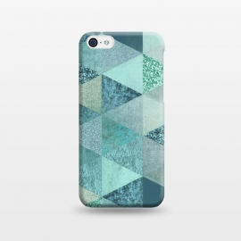 iPhone 5C  Fancy Shimmering Teal Triangles by Andrea Haase