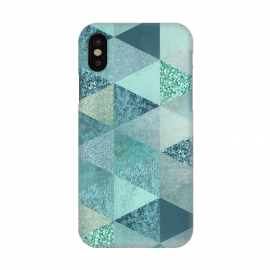 iPhone X  Fancy Shimmering Teal Triangles by Andrea Haase