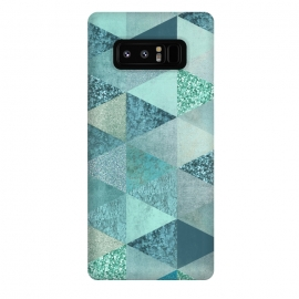Galaxy Note 8  Fancy Shimmering Teal Triangles by Andrea Haase