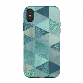iPhone Xs / X  Fancy Shimmering Teal Triangles by