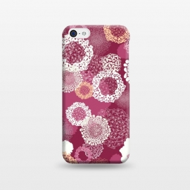 iPhone 5C  Doily Flowers on Dark Pink by Paula Ohreen