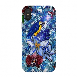 iPhone Xs / X  Blue Jungle Bird Pattern by Utart