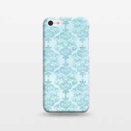 iPhone 5C  Teal Watercolor Damask Pattern by Andrea Haase