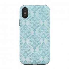 iPhone Xs / X  Teal Watercolor Damask Pattern by Andrea Haase