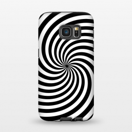 Galaxy S7  Concentric Spiral Op Art Black And White by Andrea Haase (spiral, concentric, optical illusion, hypnotic, op-art, pop-art, sixties, seventies, 60s, 70s, retro, vintage, boho, hipster, purity, black, white, gift, black and white, simplicity, fashionable, trendy, fancy, stylish)
