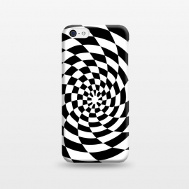 iPhone 5C  Checker Spiral Black And White by Andrea Haase