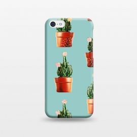 iPhone 5C  Cactus in Copper Pots by Uma Prabhakar Gokhale (graphic, cactus, botanical, nature, floral, copper, rose gold, blush, flowers)