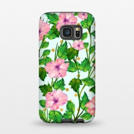 Galaxy S7  Blush Blossom by Uma Prabhakar Gokhale (graphic, watercolor, pattern, floral, nature, botanical, flowers, pink, green, gold, golden, polka dots, tropical, exotic, pink flowers, blossom, bloom)