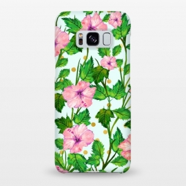 Galaxy S8+  Blush Blossom by Uma Prabhakar Gokhale (graphic, watercolor, pattern, floral, nature, botanical, flowers, pink, green, gold, golden, polka dots, tropical, exotic, pink flowers, blossom, bloom)