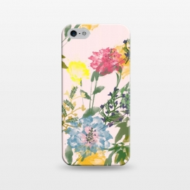 iPhone 5/5E/5s  Vivacious by Uma Prabhakar Gokhale (watercolor, floral, nature, blush, pink, exotic, botanical, flowers, blossom, bloom, leaves, grow, prosper)