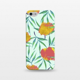 iPhone 5/5E/5s  Floraison by Uma Prabhakar Gokhale (acrylic, watercolor, pattern, floral, exotic, tropical, flora, gold, golden, blush, nature, botanical, leaves, green, pink)
