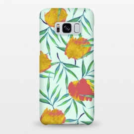 Galaxy S8+  Floraison by Uma Prabhakar Gokhale (acrylic, watercolor, pattern, floral, exotic, tropical, flora, gold, golden, blush, nature, botanical, leaves, green, pink)