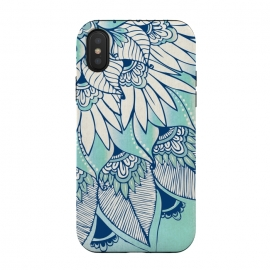 iPhone Xs / X  Truth  by Rose Halsey (flower,floral,teal,boho,hippie,lotus,lilly,nature,leaves,pretty)
