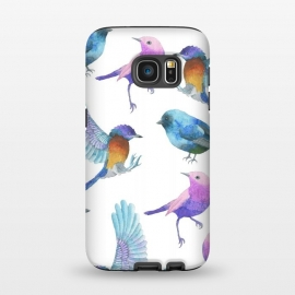 Galaxy S7  Colorful Watercolors Birds Pattern by Dushan Medich