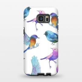 Galaxy S7 EDGE  Colorful Watercolors Birds Pattern by Dushan Medich