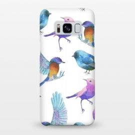 Galaxy S8+  Colorful Watercolors Birds Pattern by Dushan Medich