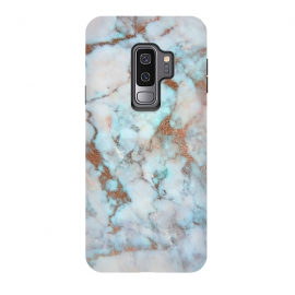 Galaxy S9+  White & Gold Faux Marble by Dushan Medich (faux marble,marble,stone,texture,mwhie,gold,deluxe,luxury marble)